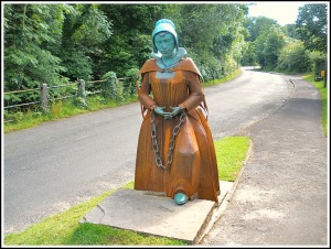 Roughlee Tribute: The statue to Alice Nutter, unveiled this year (Pic: http://www.oneguyfrombarlick.co.uk)