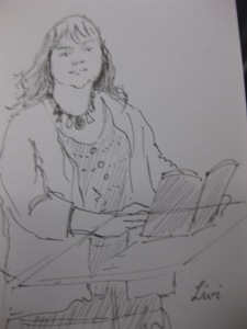 Livi Likeness: A pencil drawing by Noreen Lobo, sketched during her reading at Lancaster Library
