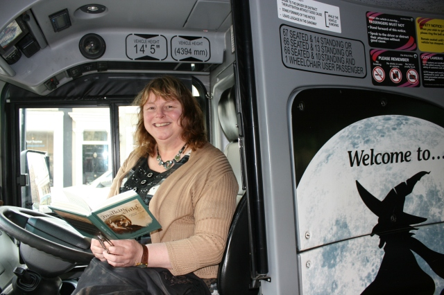 Driving Lesson: Livi Michael takes control of the Alice Nutter (Pic: Michell Scott/Transdev)