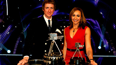 Golden Duo: Brad Wiggins and Jess Ennis at the BBC Sports Personality of the Year awards ceremony (Photo: BBC)