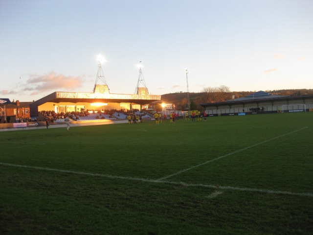 Hyde Away: The view from the lonely away end at Ewen Fields