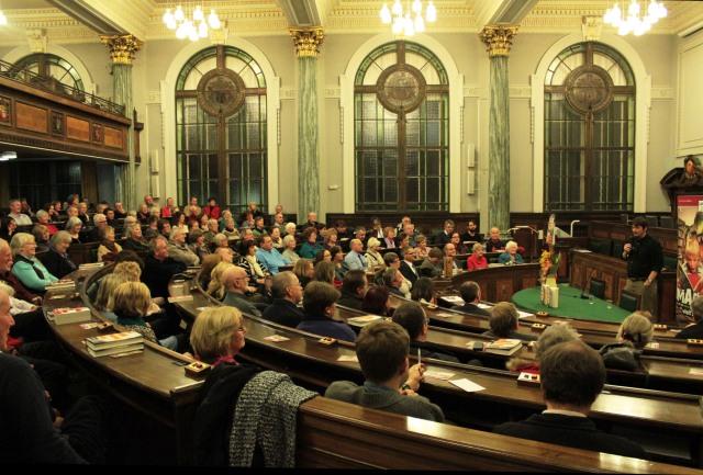 Holding Court: Ian Rankin takes the mic. at Preston (Photo courtesy of Angela McMahon)
