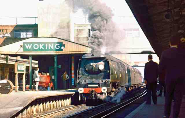 Woking Class Hero: Battle of Britain Class 34057 'Biggin Hill' exits Woking in September 1966 (Photo courtesy of Dave Salmon)