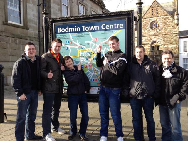 In Town: Some of the faithful Colliers fans, pre-match in Bodmin (Pic courtesy of Brian Shotton/Ashington AFC)