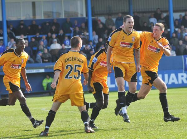 Holker Hit: Liam Marum about to be mobbed after his winner at Barrow in April 2009 (Photo courtesy of David Holmes)