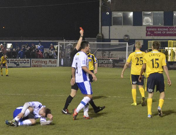 Hunter Slayed: Lee Sawyer gets his marching orders and Woking are as good as finished (Photo courtesy of David Holmes)