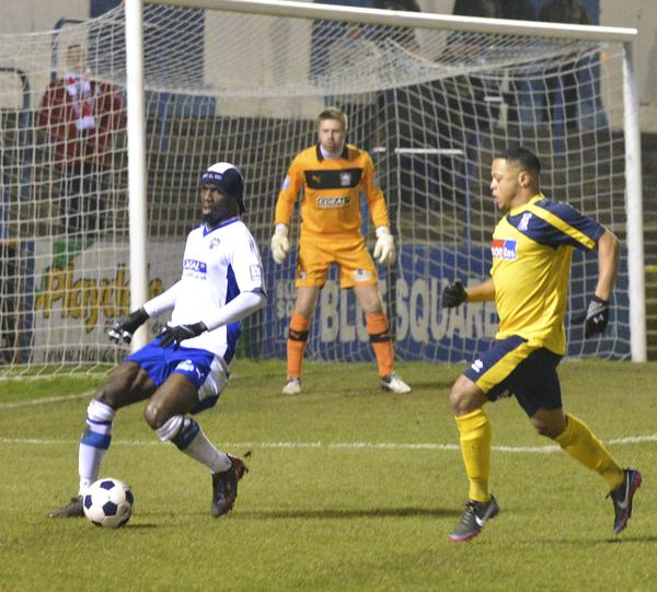 Denied Again: Efe Sodje stops another Cards attack (Photo courtesy of David Holmes)