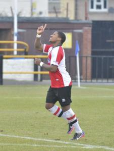 High Praise: Bradley Bubb celebrates after his second goal (Photo courtesy of David Holmes)