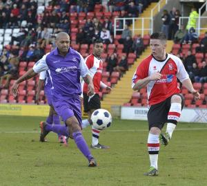 Loan Ranger: Billy Knott on the ball against Telford (Photo courtesy of David Holmes)