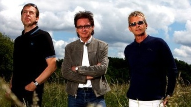 Studio Trio: Mark Brzezicki, Bruce Foxton and Russ Hastings during the recording of Back in the Room
