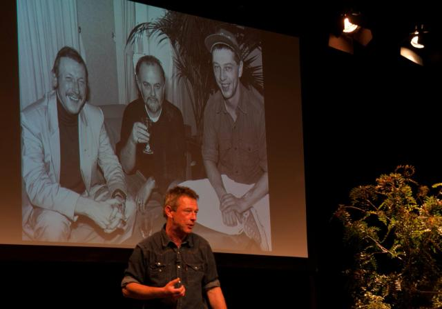 Two Johns: Andy Kershaw in the shadow of giants, on stage at the Hay on Wye Literary Festival, June 2012 (Photo: http://www.andykershaw.co.uk/)
