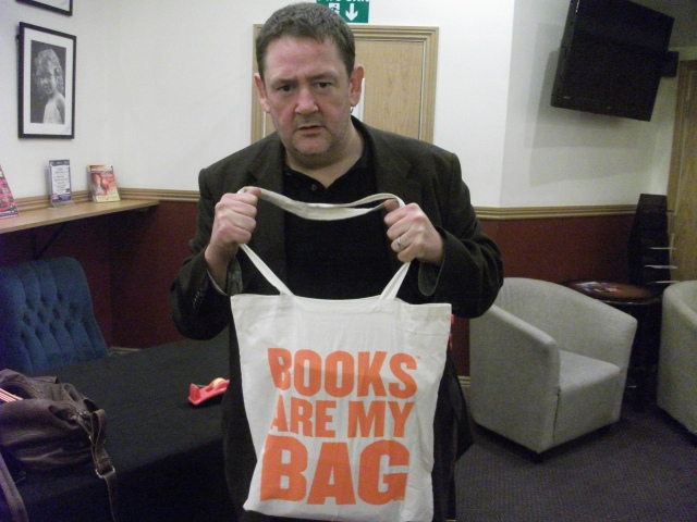 Johnny's Bag: Michael Pennington shows his support for independent book shops (Photo: Diane Gunning)