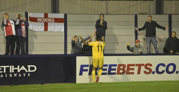 Goal Hero: Kevin Betsy celebrates with the travelling faithful at Hyde, including the blogger's niece and brother-in-law (Photo: David Holmes)
