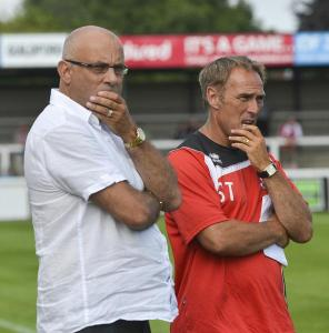 Thinking On: Garry Hill and Steve Thompson in pre-season (Photo: David Holmes)