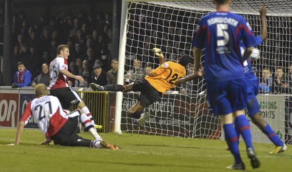 Hyde Slapped: Jack Marriott on target again, against Hyde this time (Photo: David Holmes)