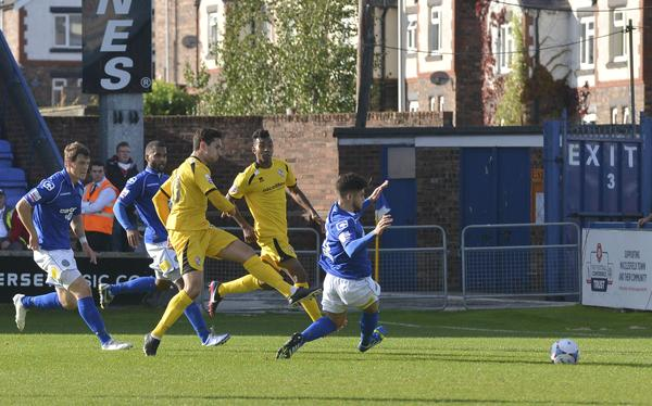 Sole Goal: Giuseppe Sole nets a consolation striker at Macclesfield (Photo: David Holmes)