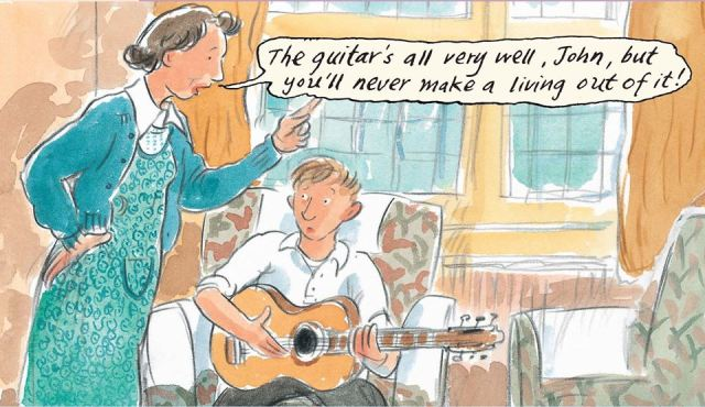 Nowhere Boy: Aunt Mimi gets her point across in The Beatles (Art copyright: Mick Mannine & Brita Granstrom)