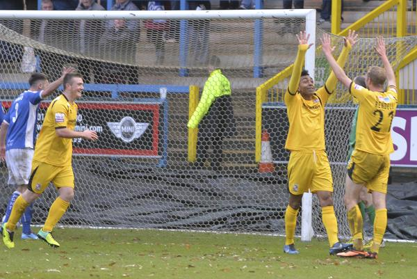Shay Men: Jack Marriott, Kevin Betsy and Scott Rendell celebrate at Halifax (Photo: David Holmes)