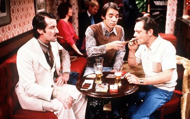 Halcyon Days: Boycie (John Challis), Trigger (Roger Lloyd Pack) and Del Trotter (David Jason). (Photo: BBC)