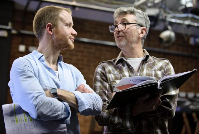 Acting Up: Gareth Cassidy, who plays Sagar Mitchell, and Chris Wright, who plays James Kenyon, in rehearsal