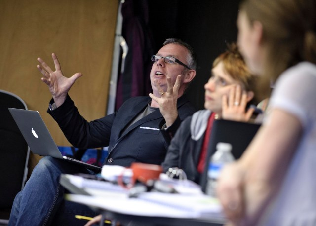 Write Away: Daragh Carville, left, in rehearsal