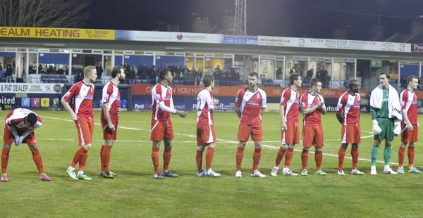 Lining Up: Woking prepare for their big night at Kenilworth Road (Photo: David Holmes)