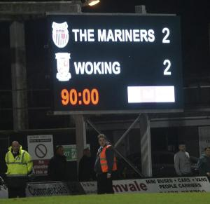 Cleethorpes Conundrum: The final scoreline at Blundell Park, with the blogger writing feverishly in the stand, trying to make sense of those last few roller-coaster minutes (Photo: David Holmes)
