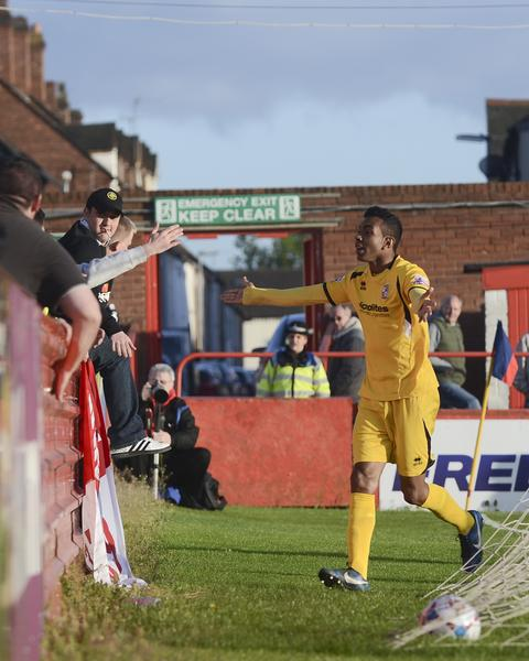Cardinal Hero: Kevin Betsy takes the plaudits at the Lamb Ground (Photo: David Holmes)