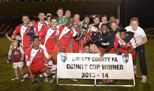 Cup Kings: Woking celebrate their 12th Surrey Senior Cup victory (Photo: David Holmes)