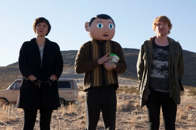 Frank Trio: From the left, Maggie Gyllenhaal, Michael Fassbender and Domhnall Gleeson on the set of 2014's Frank