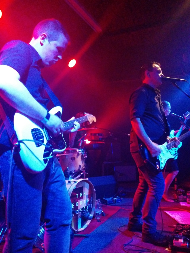 To The Bridge: The Trades Club in Hebden Bridge, with on-loan Sam, left, joining David, centre, on guitar