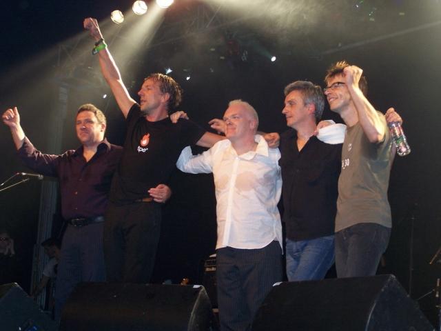 Fond Farewell: That Petrol Emotion say goodbye. From the left, Raymond Gorman, Steve Mack, Ciaran McLaughlin, Brendan Kelly, Damian O'Neill