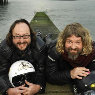 Donned Leathers: Dave Myers and Si King, waiting on a ride-out with Paul Hollywood