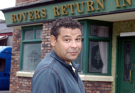 Swift One: Craig Charles aka Lloyd Mullaney on the Corrie set (Photo: ITV)