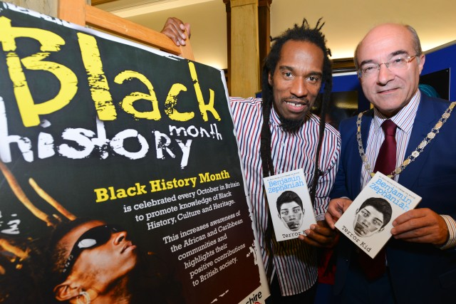 County Call: Benjamin Zephaniah with Lancashire County Council chairman Kevin Ellard (Photo: Denis Oates Photography)