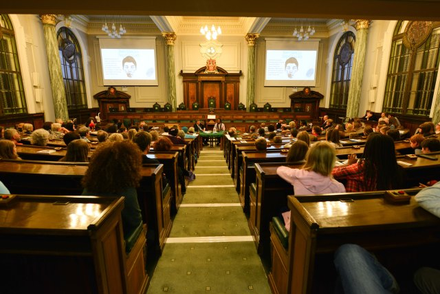 Council Chamber: Benjamin Zephaniah faces his audience at County Hall (Photo: Denis Oates Photography)