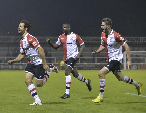Set-piece Specialist: Giuseppe Sole leads the charge after his home winner against Nuneaton Town (Photo: David Holmes)