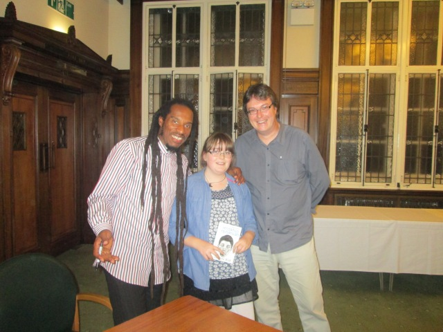 Signing On: Benjamin Zephaniah poses with the blogger and his youngest daughter (Photo: Malcolm Wyatt)