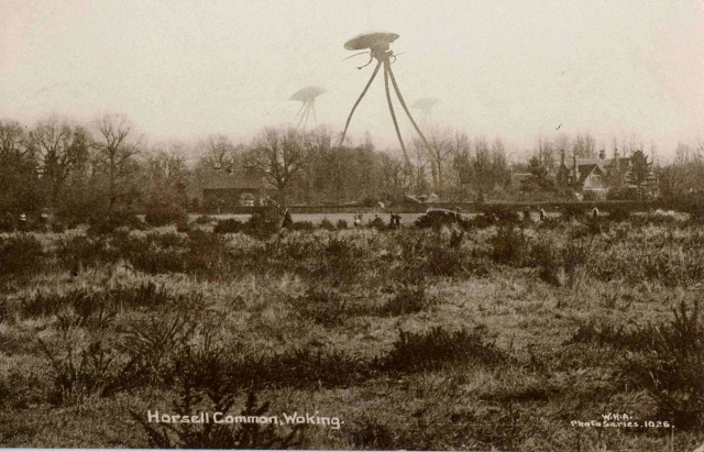 Common Ground: The Martians' arrival in Horsell, depicted in picture postcard form (Photo montage: Lucy Reynolds Art c/o http://robotmafia.com/))