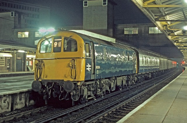 Night Train: A Class 74 electro-diesel stands at Woking in the early hours of December 3, 1977 (Photo: David Hayes)