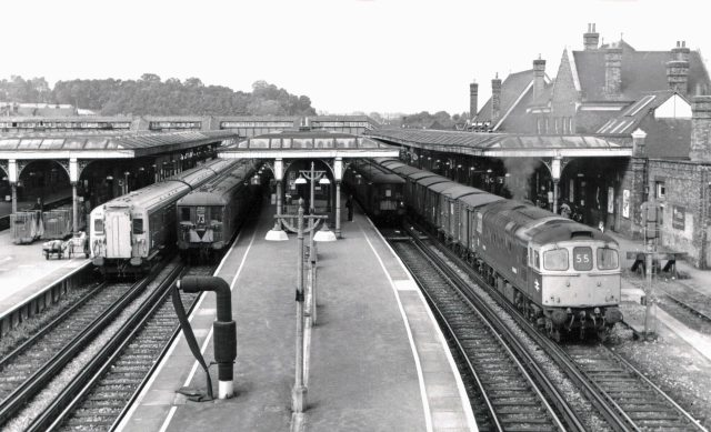 Right Lines: Four types of motive power at Guildford in 1968, early on in Geoff's post-steam career (Photo: John Scrace)