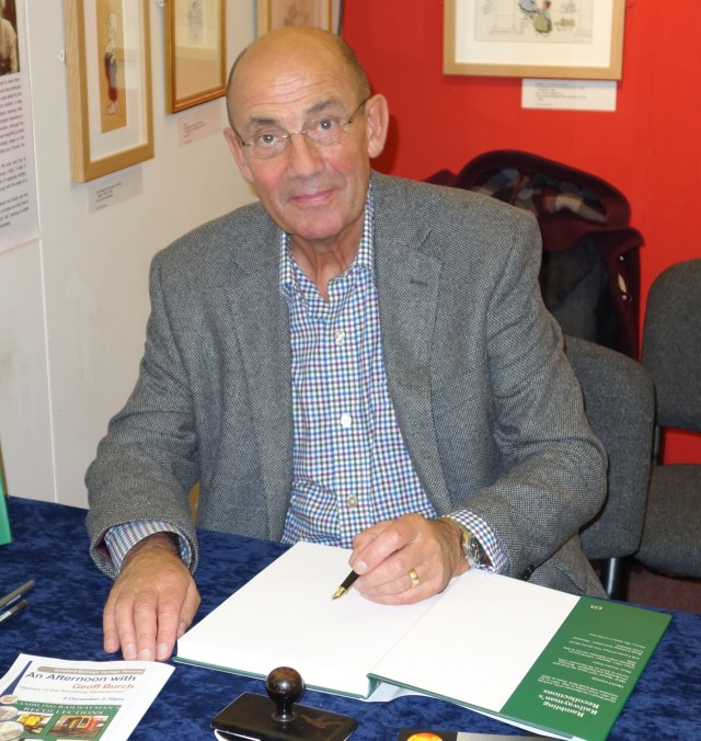 Write Idea: The author takes a breather between signing copies of his latest epic at Guildford Museum in November, 2014 (Photo: Geoff Burch)