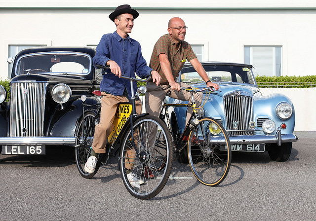 Classic Touch: Jack and Wayne Hemingway take to two wheels for last summer's Vintage by the Sea (Photo: Emma Sudall)