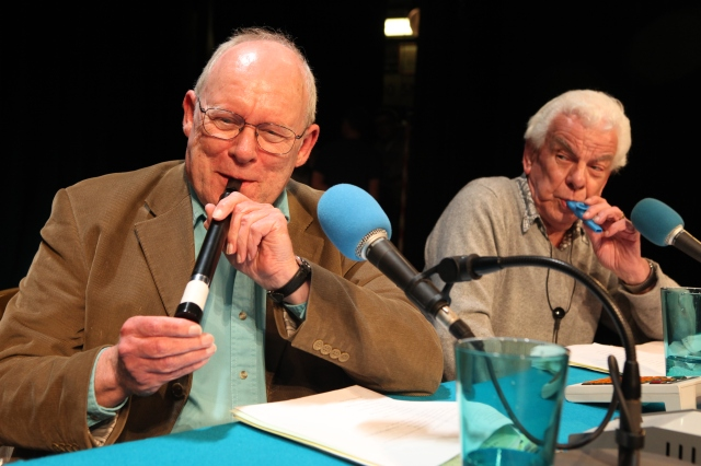 Kazoo Kings: Old farts Graeme Garden and Barry Cryer on the set of BBC Radio 4's I'm Sorry I Haven't A Clue