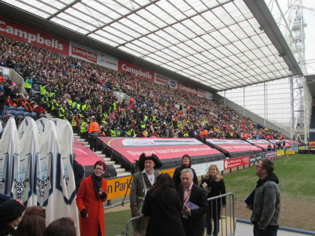 Late Nerves: The authors get ready for kick-off at Deepdale. From the left, World Book Day's Kirsten Grant, Jonny Duddle, Cathy Cassidy's back (!), Frank Cottrell Boyce, Cressida Cowell, Danny Wallace (Photo: Malcolm Wyatt)