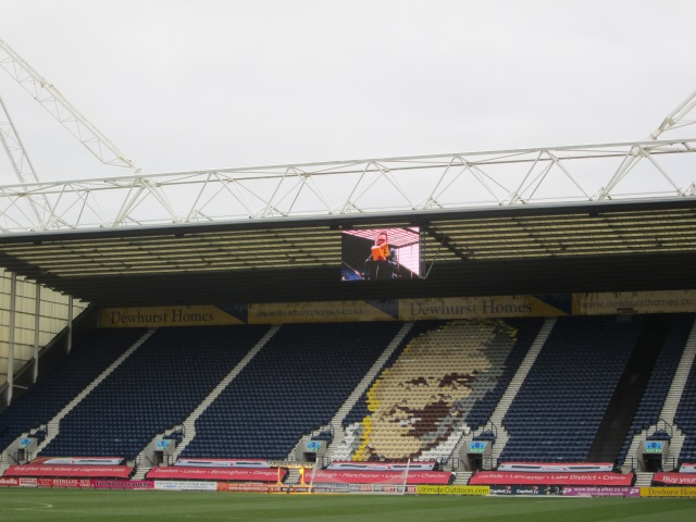 Introducing Hamish: Danny Wallace is picked out on the big screen on the Bill Shankly Kop (Photo: Malcolm Wyatt)