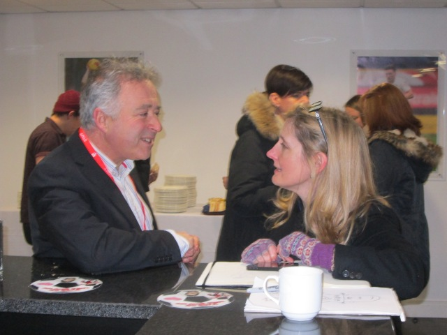 Candid Moment: Frank and Cressida compare notes in the PNE Players' Lounge (Photo: Malcolm Wyatt)