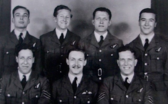 Poignant Tribute: Mike's father's ill-fated Lancaster crew. Back from left: Sgt. Simkin, Fl/Sgt Harding, Fl/Sgt Langley, Sgt Hambly. Front, from left: Sgt Hayward, Fl/Lt Scott, Sgt Frank Alfred Saunders (Photo: Gordon Thorburn)