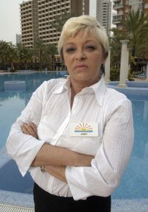 Solana Sunshine: Crissy as Janey York on the set of Benidorm (Photo: ITV)