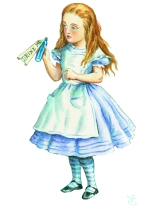 Liquid Refreshment: Alice contemplates a pick-me-up (Copyright: Alice's Adventures in Wonderland: Illustrations © Macmillan 1995)